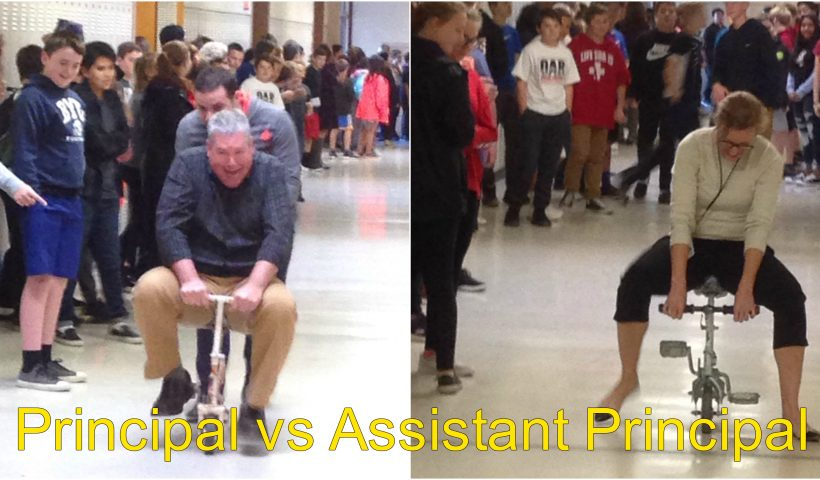 Principal and Assistant Principal raced monkey bikes through the halls of our school