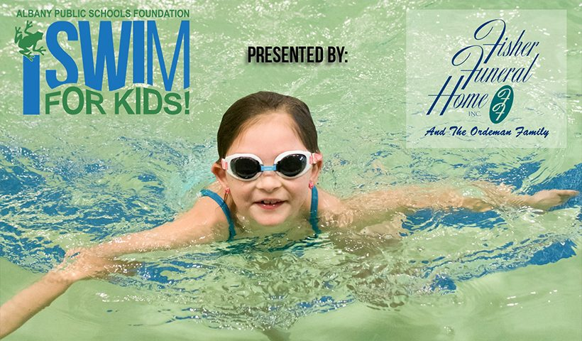 Child Swimming with iSwim for Kids and Fisher Funeral Home logos